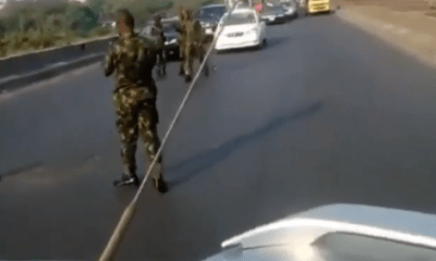 "Nigerian Army Cadets block expressway, shouting civilians ""can't do anything"" [VIDEO]"