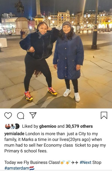 Yemi Alade has revealed that when she was in primary 6, her mum had to pay her school fees by selling her economy class ticket.     The singer added that those days are behind them now and today they fly business class.     She shared a photo she took with her mother in London and wrote:      London is more than just a city to my family, it marks a time in our lives (20 years ago) when mum had to sell her economy class ticket to pay my primary 6 school fees.  Today we fly business class! Next stop #amsterdam.