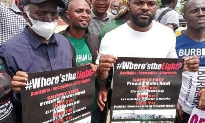 Nigerian singer, Falz and father lead protest in Lagos against insecurity in the country