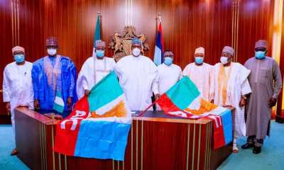 President Buhari presents APC flags to Ayade, Matawalle [PHOTOS]