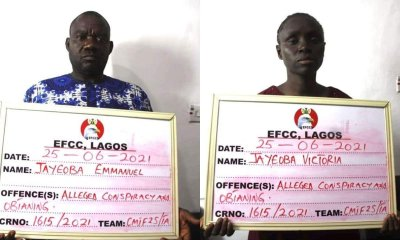 Couple arrested by EFCC for alleged N935m ponzi scheme, son wanted-TopNaija.ng