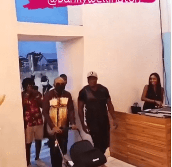 Moment Banky W walked in with his son for his surprise 40th birthday party (video)