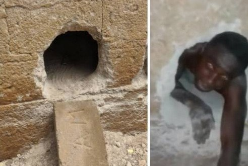 Thief trapped in hole in church wall after he broke in to steal (video)