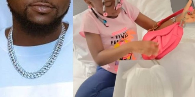Davido gifts his first child, Imade Adeleke, a Dior bag for her 6th birthday