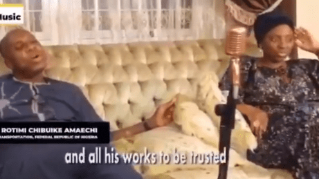 Minister of Transport, Rotimi Amaechi, releases gospel music featuring his  wife, Judith (Video)
