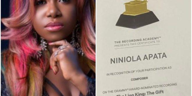 Singer, Niniola Flaunts Her Grammy Awards Certificate