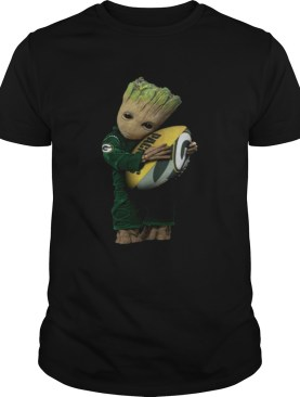 Baby Groot hug rugby ball Green Bay Packers shirt