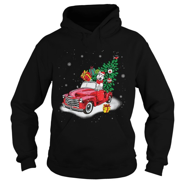 Husky Rides Red Truck Christmas Tree Xmas Gifts  Hoodie