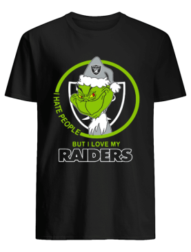 Oakland Raiders NFL Christmas Grinch Santa I Hate People But I Love My Raiders shirt