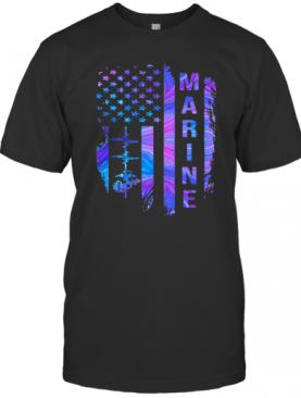 Marine American Flag Veteran Independence Day T-Shirt