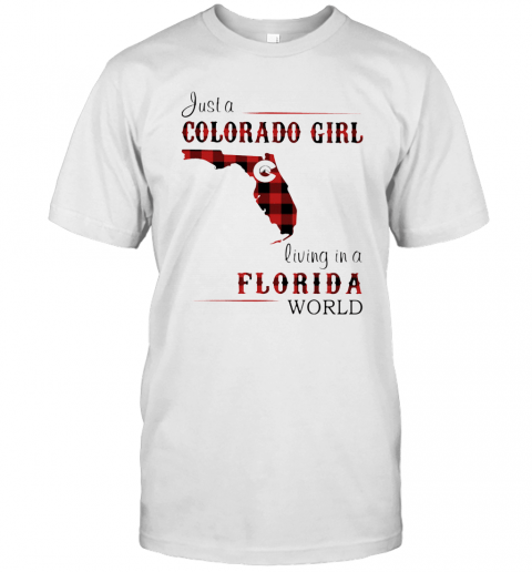 Just A Colorado Girl Living In A Florida World Map T-Shirt Classic Men's T-shirt