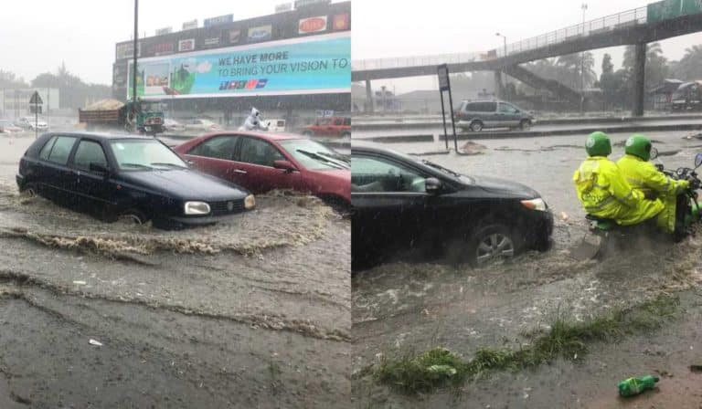 Flood takes over Ikorodu road in Lagos following downpour (Photos)