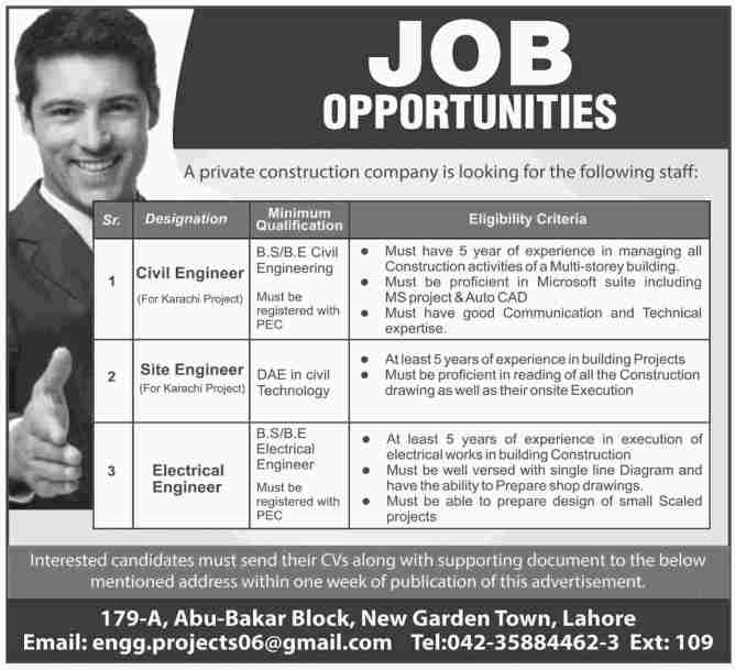Civil Engineer and Electrical Engineer Required-in-Lahore 2019