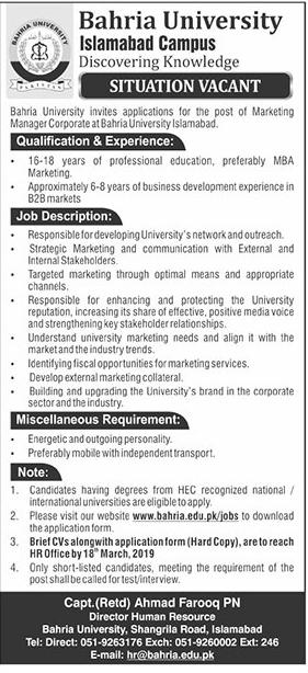 Jobs in Bahria University
