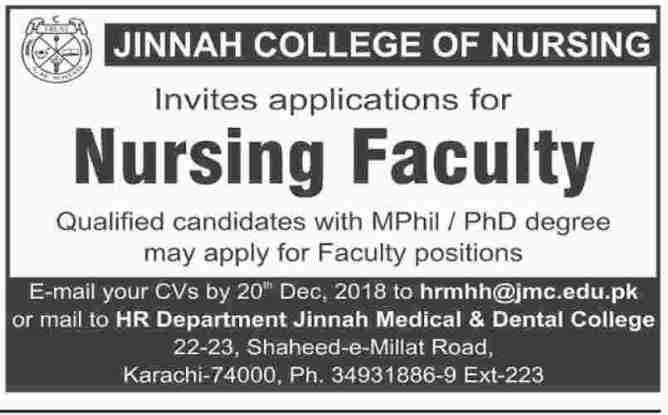 Jobs in Jinnah College of Nursing 2019