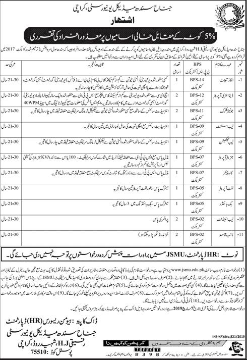 Jobs in Jinnah Sindh Medical University 2019