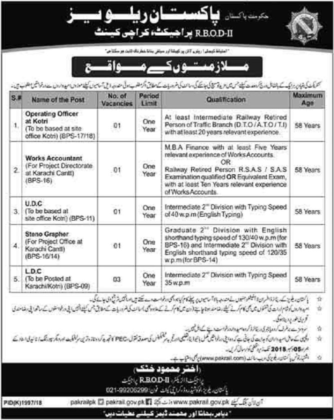 Jobs in Pakistan Railways Karachi 2019