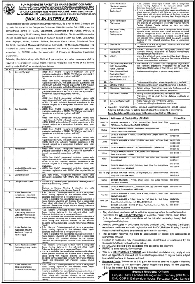 Jobs in Primary and Secondary Healthcare 2019