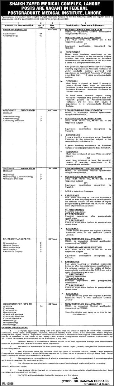 Jobs in Shaikh Zayed hospital Lahore 2018