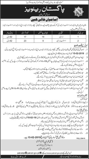 Jobs in pakistan railway 2019