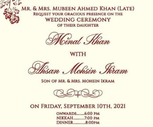 minal khan marriage card