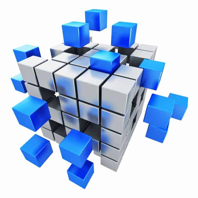 Creative abstract business teamwork, internet and communication concept: metal cubic structure with assembling blue metallic cubes isolated on white background