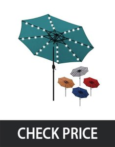 Blissun 9 ft Solar Umbrella 32 LED Lighted