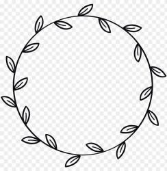 border wreath leaves leaf flower black ink outlined instagram PNG image with transparent background TOPpng