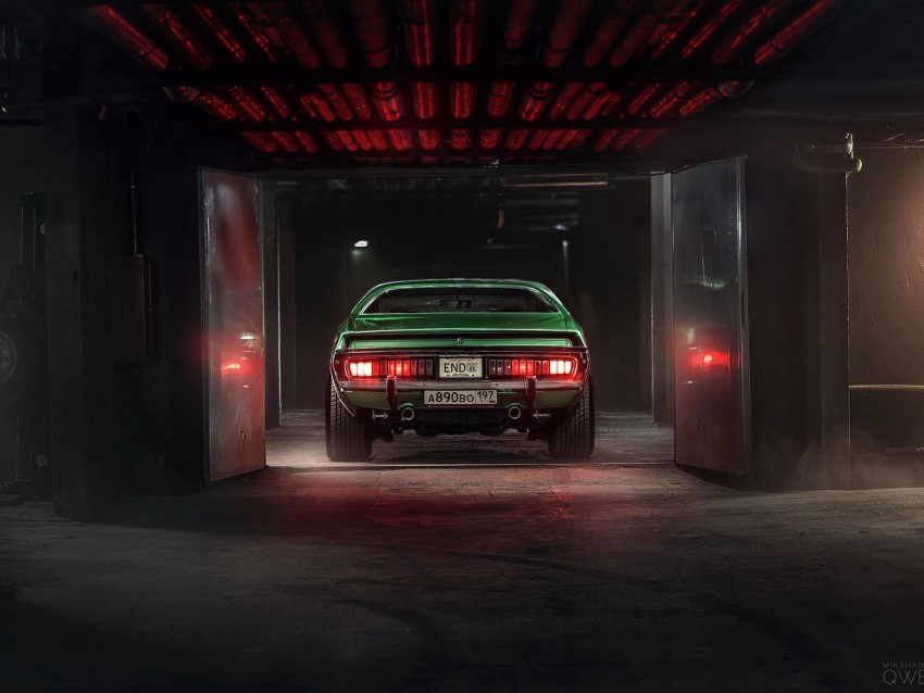 Car Garage Tuning Green Rear View Background Toppng