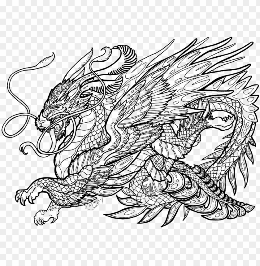 Complicated Dragon Coloring Pages Complex Coloring Pages Of Dragons Png Image With Transparent Background Toppng