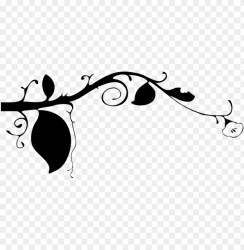 reen watercolor vines vine small flowers watercolor leaves border black and white PNG image with transparent background TOPpng