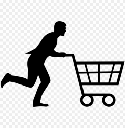 shopping cart man woman running run buy store shopping cart silhouette PNG image with transparent background TOPpng