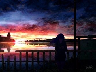 silhouette night starry sky girl anime background TOPpng