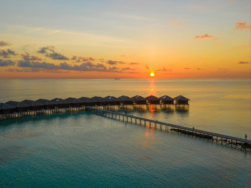 Sunset Ocean Bungalow Sun Pier Beach Vacation Background Toppng