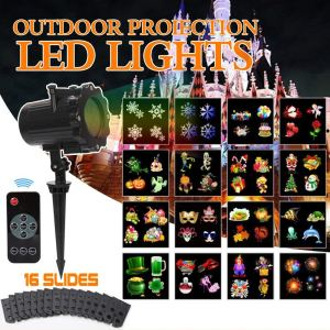 the kuquce is the best christmas outdoor laser light projector because it comes with 16 multi color switchable patterns and 3 stand types that fit for all - Christmas Outdoor Projector