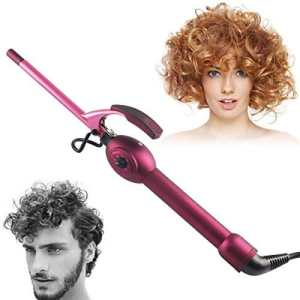 9mm Unisex Hair Curler, szwintec Hair Curling Iron Wand Professional Super Tourmaline Ceramic Barrel Small Slim Tongs Hair Roller Curler Crimper Styling Wand for Short and Long Hair