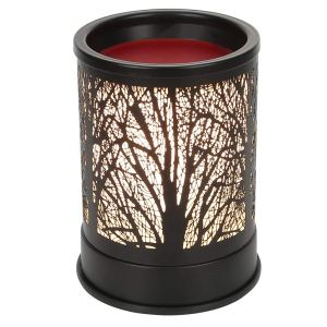 Foromans Wax Melts Candle Warmer Classic Black Metal Forest Design Fragrance Oil Warmer Lamp for Home Décor