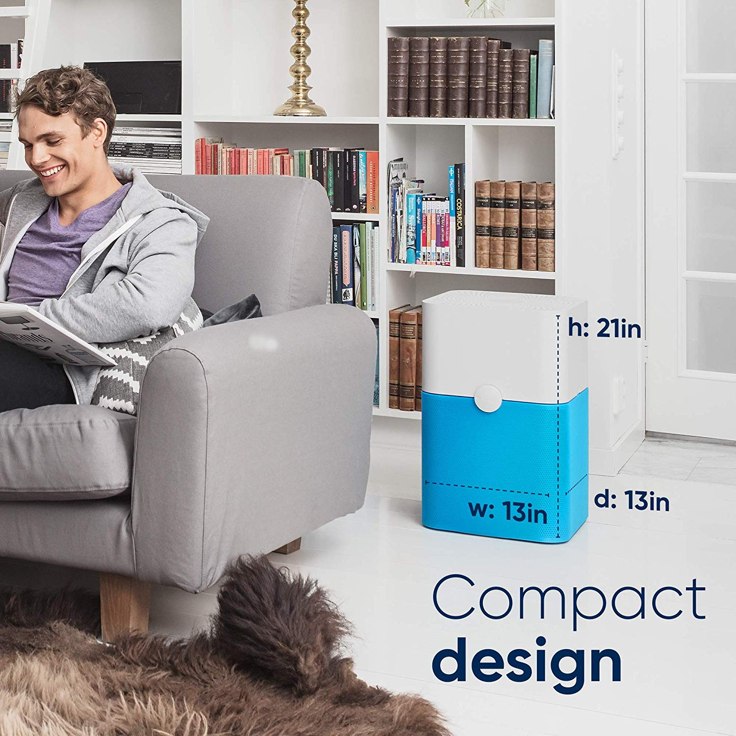 Blueair Blue Pure 211+ Air Purifier with Washable Pre-Filters for allergies features