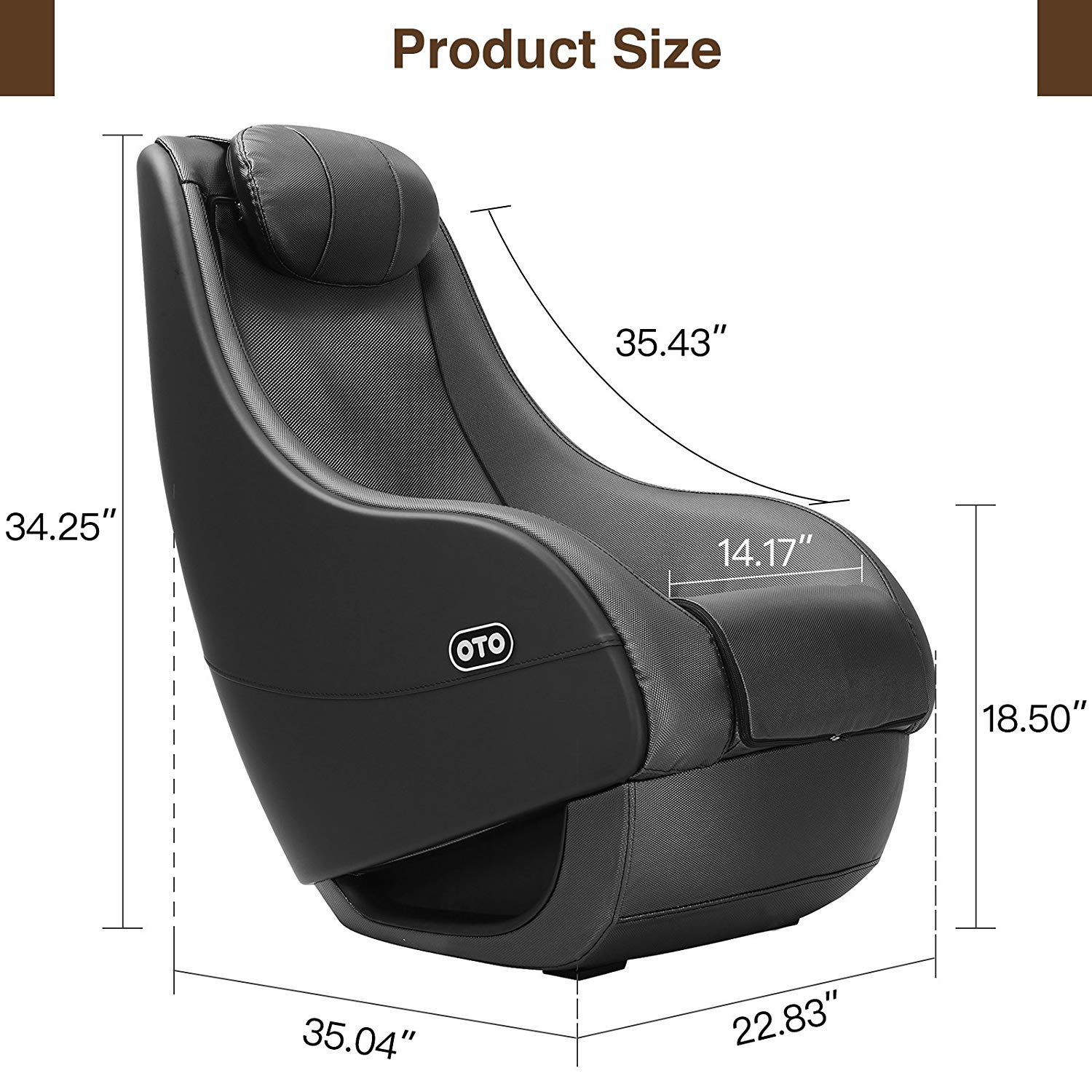 SUNCOO Massage Recliner Bonded Leather Chair heated sofa size