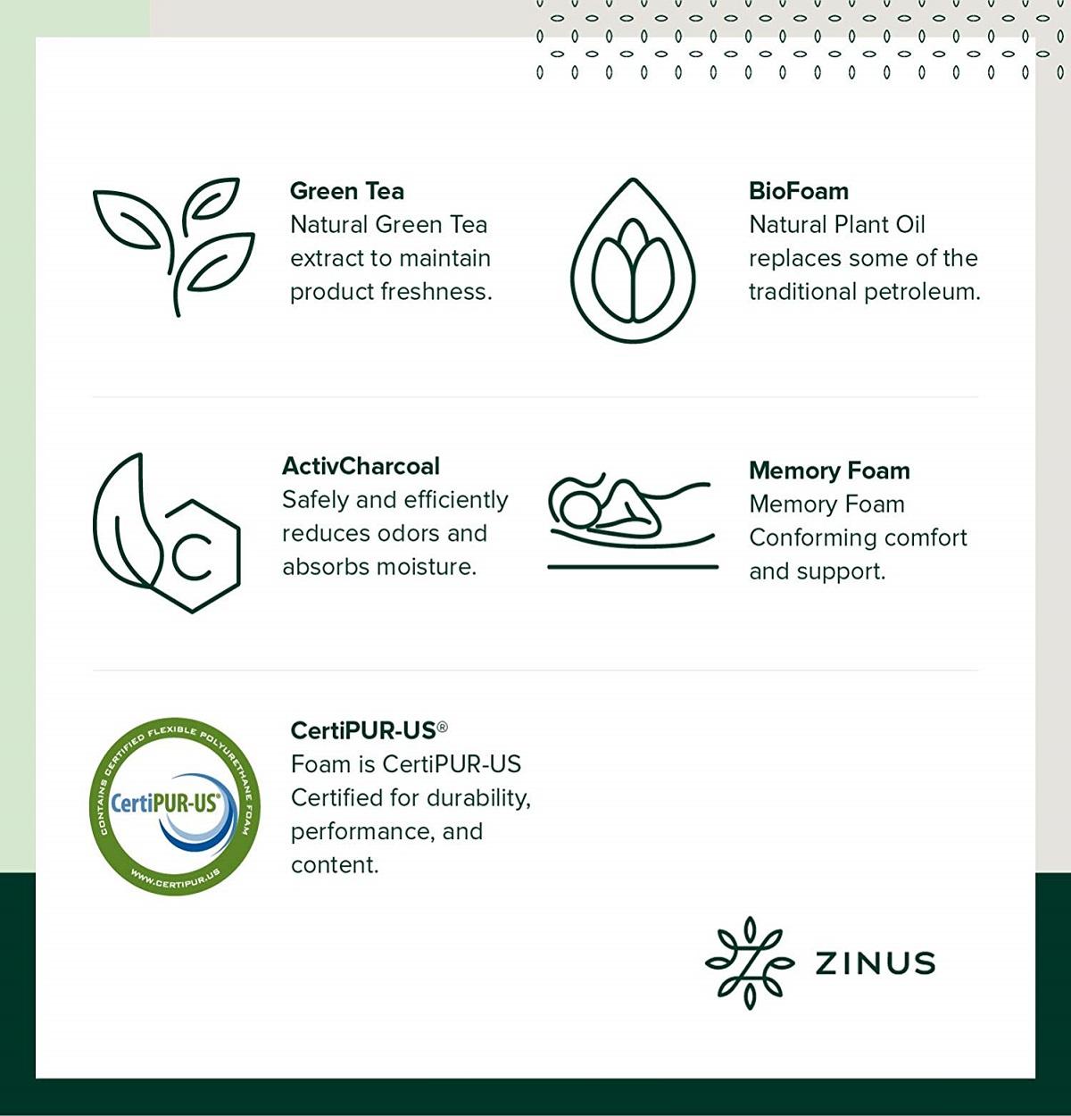 Zinus 10 Inch Gel-Infused Green Tea Memory Foam Mattress