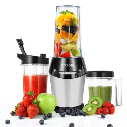 cosori blender 9-piece smoothie blender personal blender for shakes and smoothies with travel sport bottle