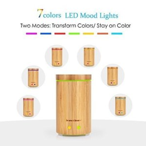 innogear real bamboo essential oil diffuser with 7 led colorful lights and waterless auto shut off