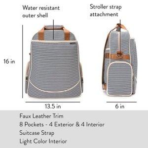 o'beanie baby diaper bag designer fashion tote unisex nautical navy and cream stripe