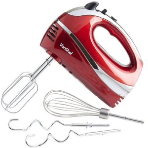 vonshef red 250w hand mixer whisk with chrome beater dough hook 5 speed turbo button free balloon whisk