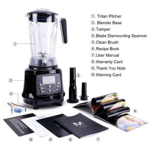 aimores as-up998 commercial blender with 6 speeds, 75oz tritan pitcher, tamper and recipe