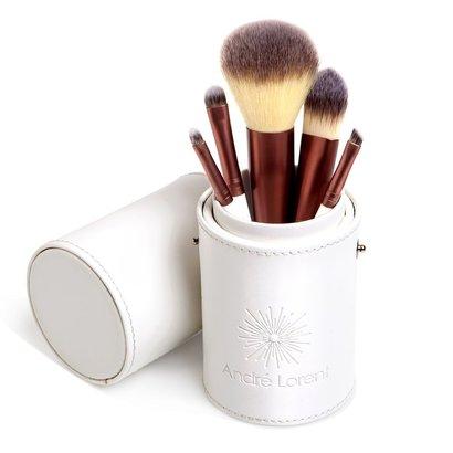 andre lorent makeup brush set with 5 professional makeup brushes in elegant designer case perfect for travel
