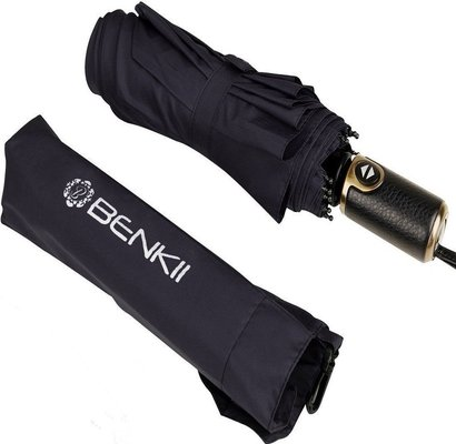 """benkii 60 mph windproof """"nonbreakable"""" 10 rib compact travel umbrella with auto open close button"""