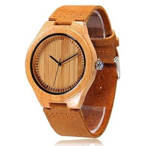 cucol bamboo minimalist wooden japanese quartz movement casual watch packed in gift box for men