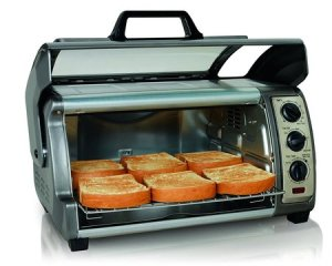 hamilton beach 31126 easy reach oven with convection includes baking pan and broil rack with two rack positions