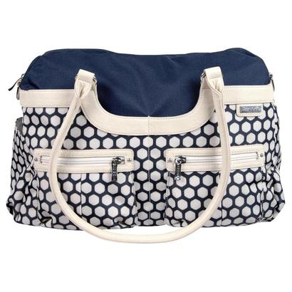 jj cole hexagon canvas satchel diaper bag with shoulder strap and grips included changing pad